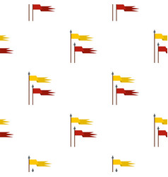 Gold and red medieval flags pattern flat vector
