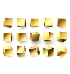 Gold metal cube realistic geometric 3d square vector
