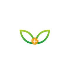 Green leaf medic herb logo vector
