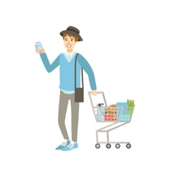 Guy buying food in grocery store vector