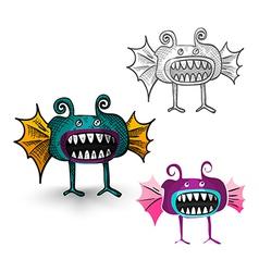 halloween isolated spooky creatures set vector image