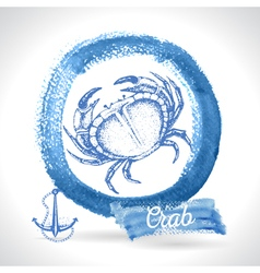 Hand drawn crab seafood vintage vector