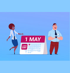 Happy 1 may labor day poster with business man and vector
