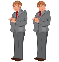 Happy cartoon man standing in gray suit vector image