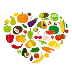 Heart shape with fruits and vegetables vector image