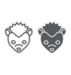 hedgehog line and glyph icon animal and zoo vector image