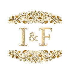 I and f vintage initials logo symbol the letters vector