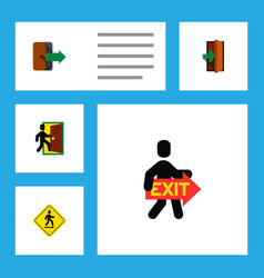icon flat emergency set of exit directional vector image