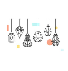 industrial metal cage pendant light hanging lamp vector image