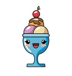 kawaii cute sundae cream cherry vector image