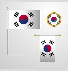 Korea south waving flag design with badge vector