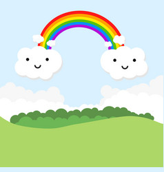 landscape with rainbow and funny clouds vector image