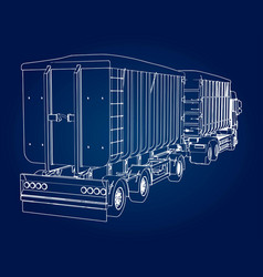 large truck with separate trailer for vector image