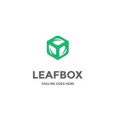 leaf leaves box cube block nature herbal logo vector image