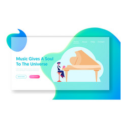 little boy artist practicing playing grand piano vector image