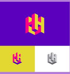 logo h monogram 3d letters cube building vector image