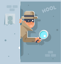 look our corner spy magnifying glass mask vector image