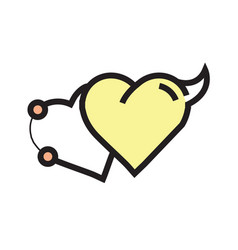 Love heart devil pen tool style yellow vector