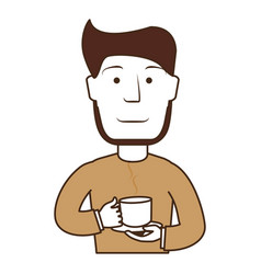Man drinking coffee avatar vector