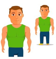 Man in green singlet Cartoon Character vector image