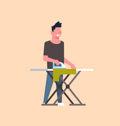 Man ironing clothes guy holding iron doing vector