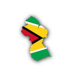 Map and flag of guyana vector