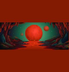 Mars - cartoon background marsian cave vector