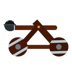 Medieval siege catapult icon flat style vector