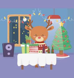 merry christmas celebration fun deer with sweater vector image
