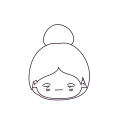 Monochrome silhouette of kawaii head little girl vector