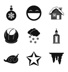 new years eve icons set simple style vector image