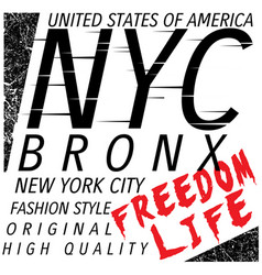 new york city bronx grunge background typography vector image