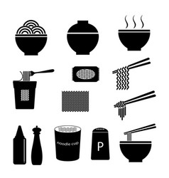 Noodle icon set vector