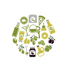 olives icons in circle vector image