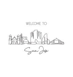 one continuous line drawing san jose city skyline vector image