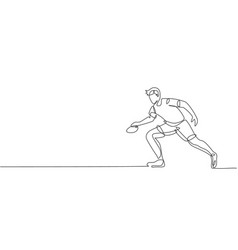 One single line drawing energetic man table vector