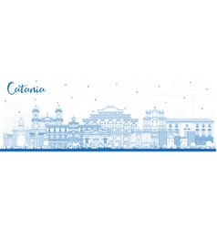 Outline catania italy city skyline with blue vector