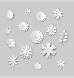 Paper art flowers set gray scale white abstract vector