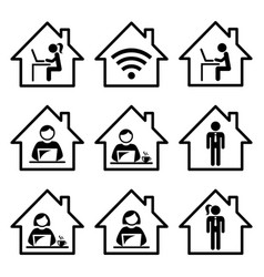 people working from home icon set vector image