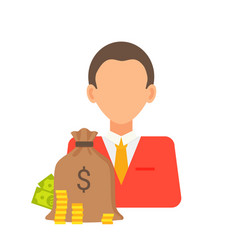 person and money bag set vector image