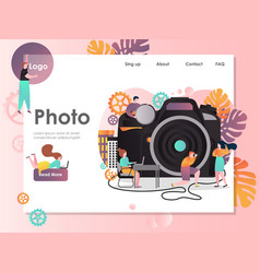 Photo website landing page design template vector