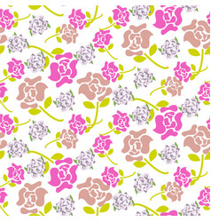 rose flowers pink and green floral dark pattern vector image