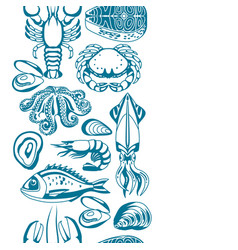 Seamless pattern with various seafood vector