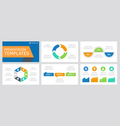 set blue orange green and turquoise elements vector image