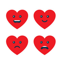 set heart emoticons love emojis vector image