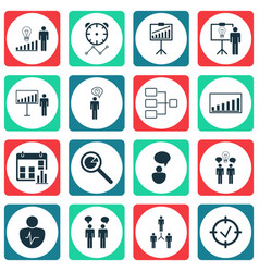 Set of 16 board icons includes approved target vector