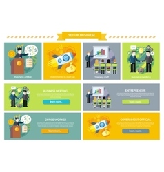 Set of Business Concept Investment Advice Meetings vector image