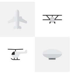 Set of simple aircraft icons elements copter vector