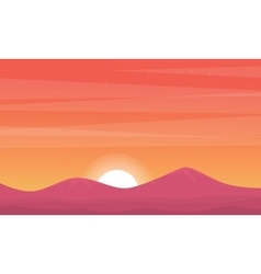 Silhouette of mountain at sunset beauty scenery vector