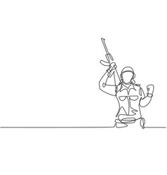 Single continuous line drawing female soldier vector